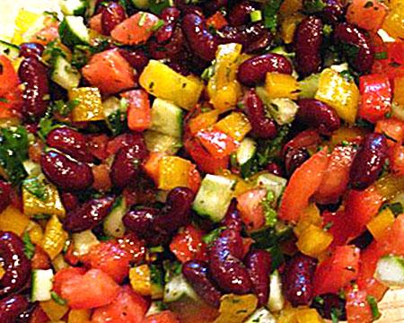 рецепт салата с красной фасолью и овощами