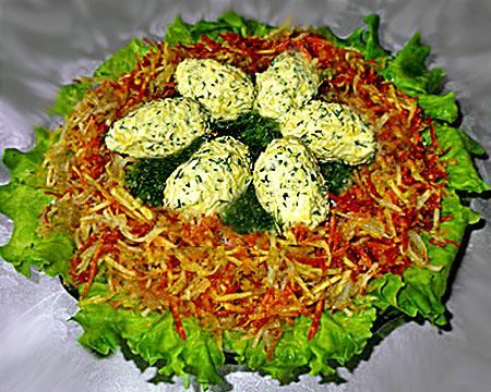 салат с гнездо глухаря видео рецепт с фото