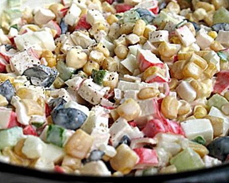 оливье с крабовыми палочками и кукурузой рецепт